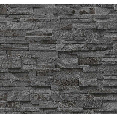 3D Effect Dark Grey Slate Stone Brick Effect Wallpaper Vinyl Washable Erismann