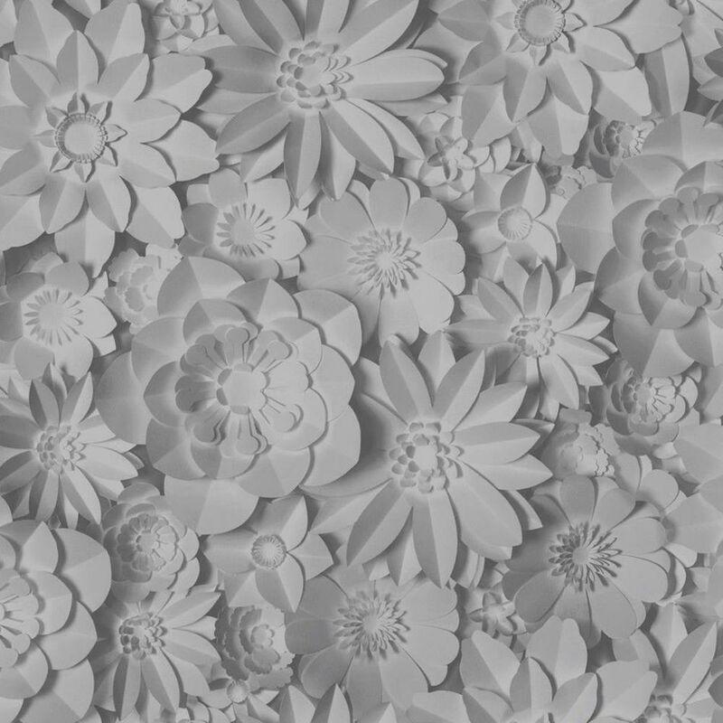 Image of 3D Effect Floral Wallpaper Washable Flowers Dimensions Grey - Fine Decor