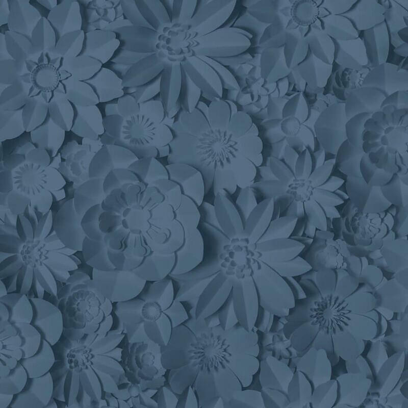 Image of 3D Effect Floral Wallpaper Washable Flowers Dimensions Navy - Fine Decor