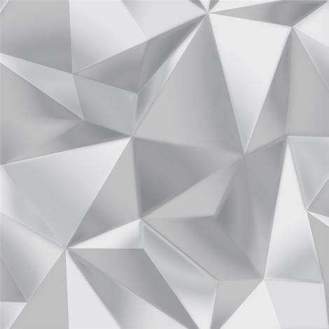 3D Effect Geometric Apex Wallpaper Modern Spectrum Silver Grey Debona