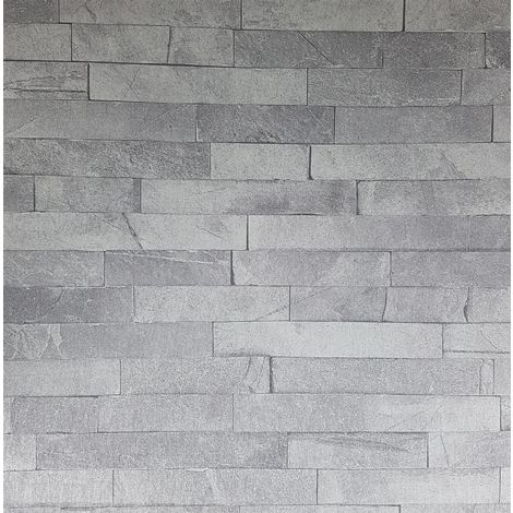 3D Effect Slate Grey Stone Wall Brick Wallpaper Vinyl Glitter Shimmer Arthouse