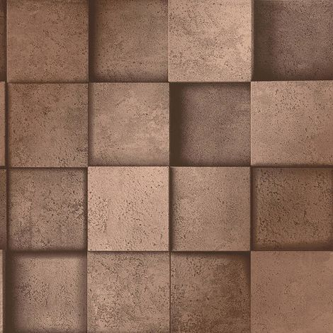 3D Effect Square Stone Brick Copper Metallic Wallpaper Fine Decor Dimensions