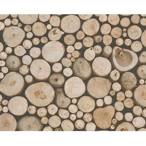 3D Effect Tree Trunk Stack Wood Log Wallpaper Forest Beige Brown A.S Creation