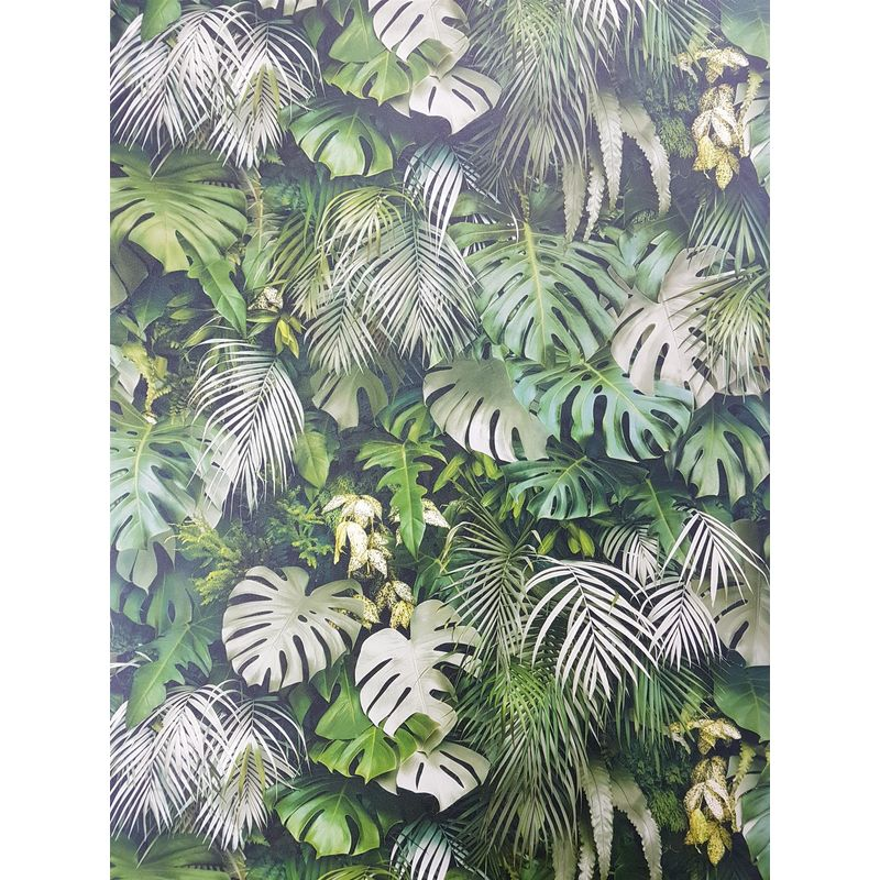 Image of 3D Effect Tropical Palm Leaf Wallpaper Green Beige Vinyl Paste Wall - A.s Creation