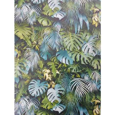 3D Effect Tropical Palm Leaf Wallpaper Green Blue Vinyl Paste Wall A.S Creation