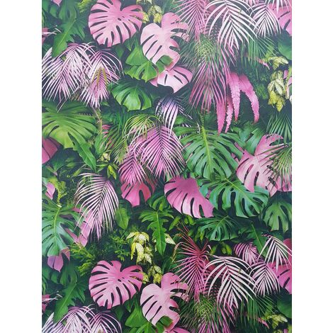 3D Effect Tropical Palm Leaf Wallpaper Green Pink Vinyl Paste Wall A.S Creation