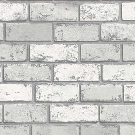 3D Effect White Silver Metallic Brick Wallpaper Stone Slate Industrial Arthouse