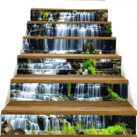 3D escaliers autocollants Riser escalier mur paysage papier peint