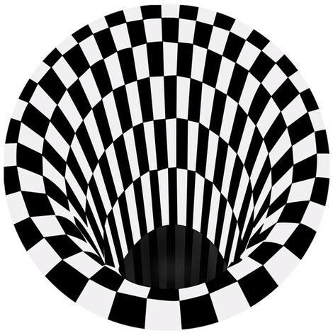 3D Espacio Ronda de alfombras, cuadros Vortex ilusiones opticas no Slip manta de area de antideslizante estera del piso no tejida Negro Blanco felpudo, 60 * 60cm