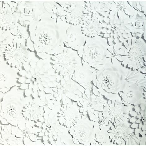 3D Flower Wall White Wallpaper - Arthouse - 907603