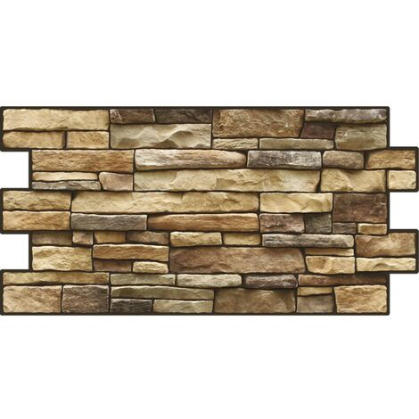 "main image of ""3D Fulvous Brown Beige Slate Stone Brick PVC Interior Panels Kitchen Cladding"""