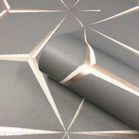 3D Geometric Grey Rose Gold Silver Wallpaper Glitter Shimmer Belgravia Harper