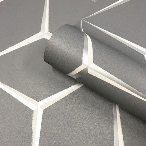 3D Geometric Grey Rose Silver Wallpaper Glitter Shimmer Belgravia Harper