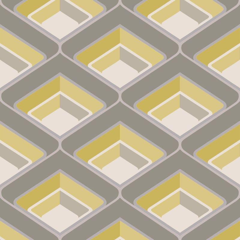 Image of 3D Geometric Retro Vintage Bold Metallic Glitter Yellow Grey Silver Wallpaper