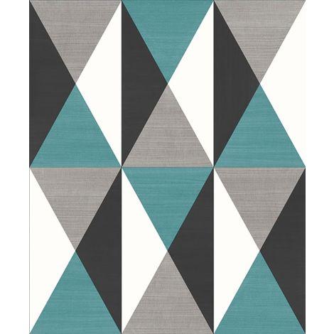 3D Geometric Triangles Diamonds Wallpaper Teal Grey Black Vinyl Paste Wall Ugepa