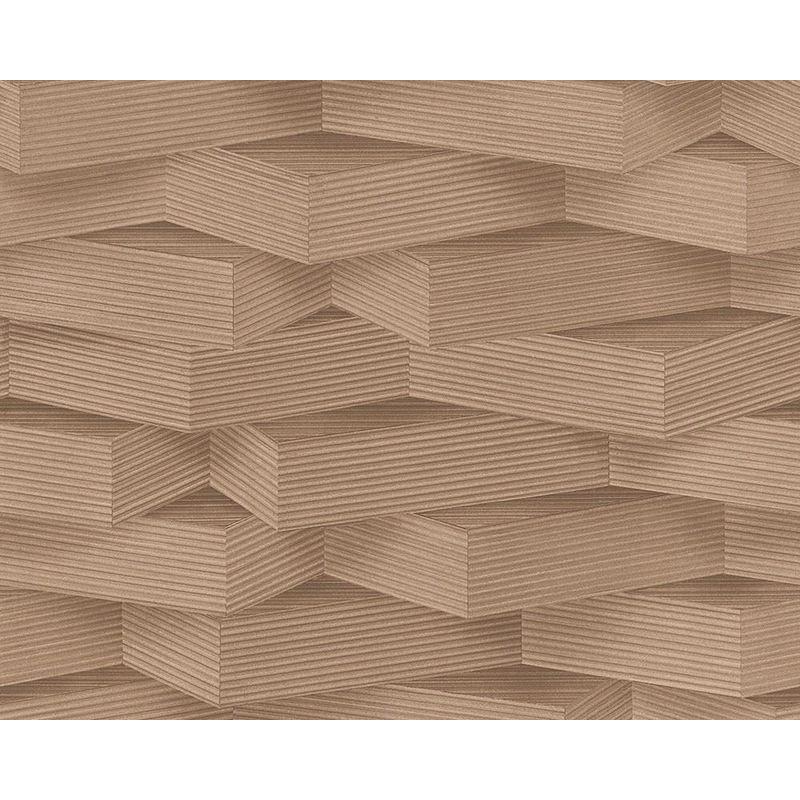 Image of 3D Pattern Wallpaper Wood Effect Geometric Blocks Brown Beige Paste Wall Vinyl