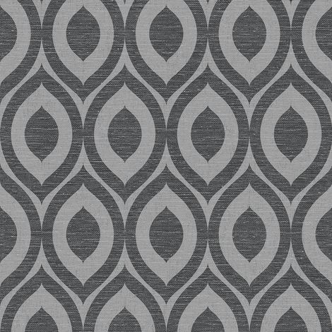 3D Geometric Wallpaper Modern Metallic Linen Sheen Effect Luxury Rimini Crown