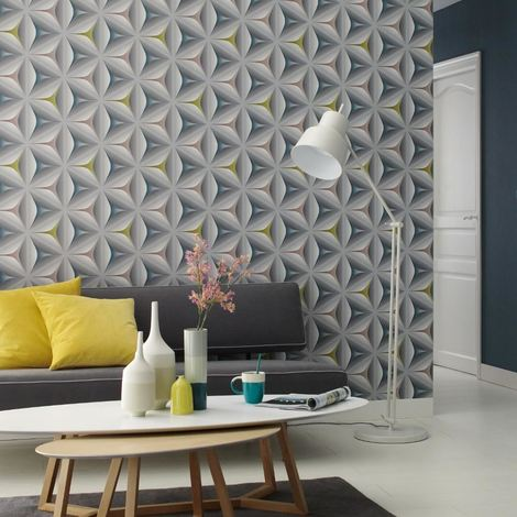 3D Geometric Wallpaper Retro Abstract Embossed Flower Graphic Grey Teal Olive
