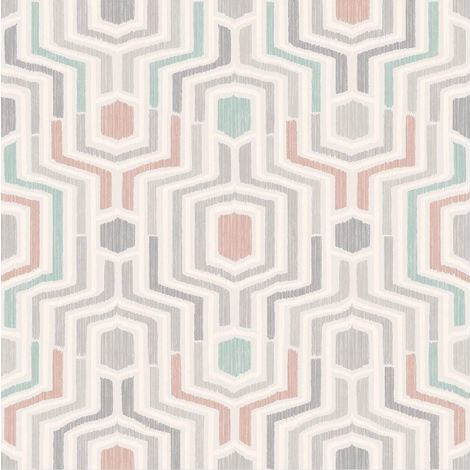 3D Geometric Wallpaper Retro Vintage Funky Print Textured Luxury Grandeco Meso