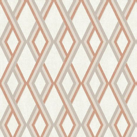 3D Geometric Wallpaper Retro Vintage Textured Vinyl Cream Beige Orange
