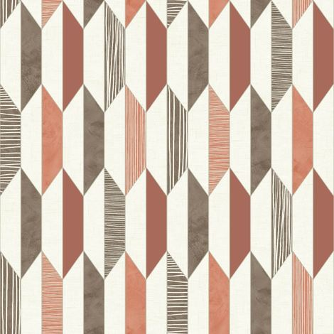 3D Geometric Wallpaper Retro Vintage Vinyl Diamonds Lines Shapes Bold Muriva