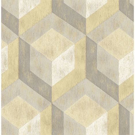 3D Geometric Wallpaper Rustic Wood Wooden Tile A Street Prints Yellow Grey