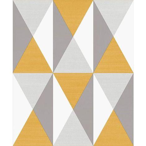 3D Geometric Wallpaper Triangles Diamonds Grey Yellow Vinyl Paste Wall Modern