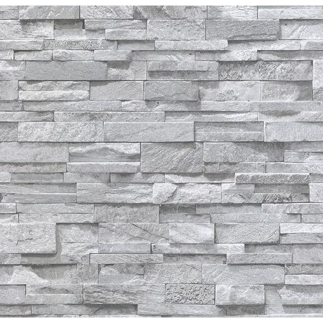 3D Grey Granite Slate Stone Wallpaper Sandstone Brick Effect Rustic Textured