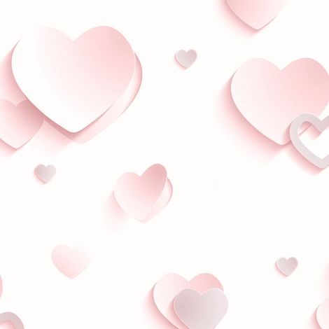 3D Hearts Wallpaper Glitter Metallic Pink Girls Room Luxury Muriva Children's