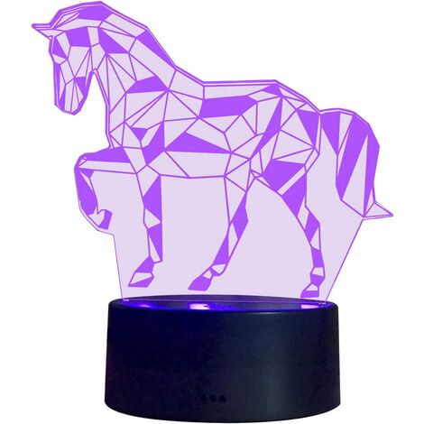 3D Illusion Night Lamp LED Horse light for Children Kids Decoration Birthday Gift