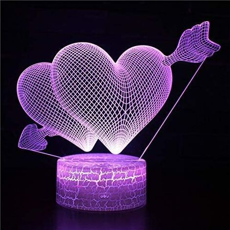 """main image of """"3D Illusion Valentine's Day Night Light, Table Lamp USB Powered 16 Colors LED Lights, Cupid's Arrow Lamp, 16 Color Change Love Theme Lights, Gifts for Couples, Valentine's Day Gift(Cupid's Arrow)"""""""