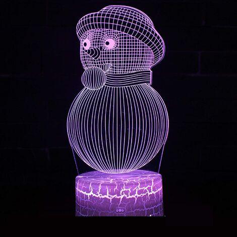 3D Lampe Illusion Optique LED Veilleuse Bonhomme De Neige De Noël Illusions Lampe De Nuit 16 Couleurs Tactile Lampe De Chevet Chambre Décor Enfant Lumière De Nuit De Noël Cadeau D'Anniversaire