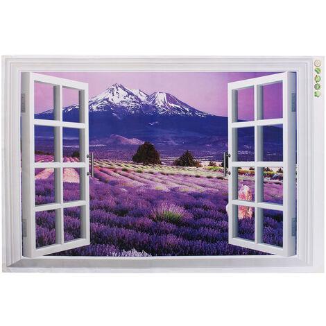 3D Lavande Fleurs Fenêtre Autocollant Adhésif Mural Pour Décor 60 × 90Cm