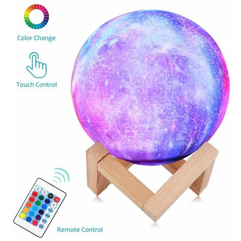 3D LED Night Moon Light Table Lamp Desk Moonlight USB Remote Control 16 colors (22cm with remote control)