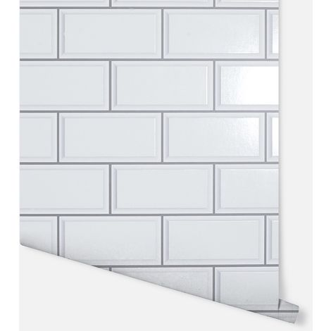 3D Metro Brick White Wallpaper - Arthouse - 692807