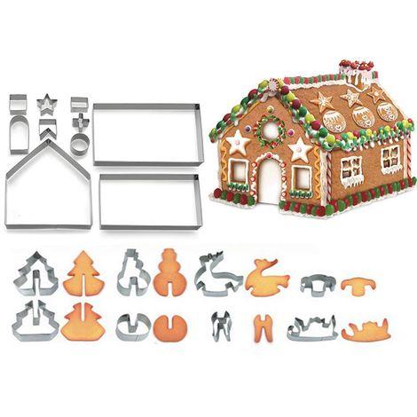 3D Noël pain d'épice maison moule emporte-pièce ensemble boîte-cadeau emballage 18 pièces