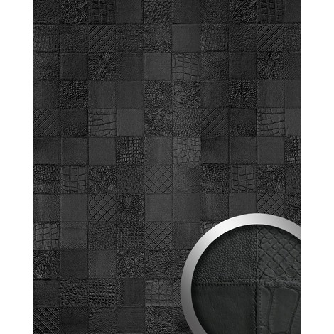 3D Panel decorativo autoadhesivo polipiel de diseño WallFace 15031 COLLAGE Mosaico relieve negro mate 2,60 m2