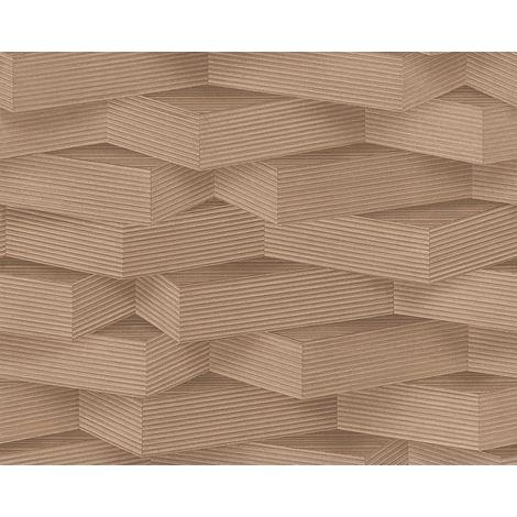 3D Pattern Wallpaper Wood Effect Geometric Blocks Brown Beige Paste Wall Vinyl