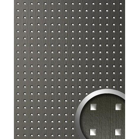 3D QUAD revestimiento mural autoadhesivo diseño cuadrados perforados WallFace 12557 con hoja base gris y plata 2,60 m2