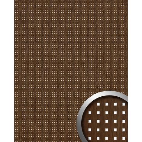 3D QUAD revestimiento mural autoadhesivo diseño cuadrados WallFace 12540 perforados y hoja base color madera plata 2,6m2
