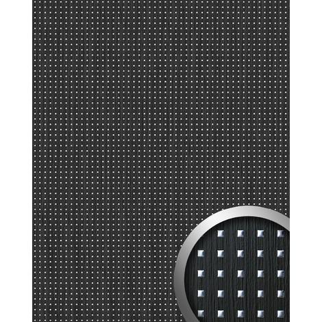 3D QUAD revestimiento mural autoadhesivo diseño cuadrados WallFace 12549 perforados y hoja base madera negra plata 2,6m2