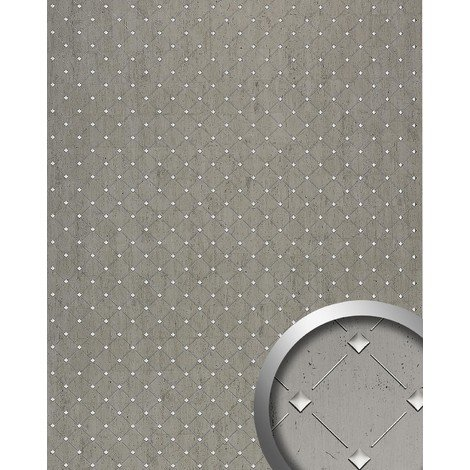 3D Revestimiento mural Panel decorativo Mosaico autoadhesivo WallFace 17857 platino gris plateado 2,60 m2