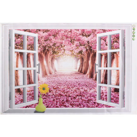 3D Sakura Road Window Sticker Adhesive Wall Sticker Decor 60 ¡Á 90Cm
