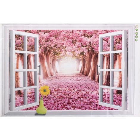 3D Sakura Road Window Sticker Adhesivo Etiqueta de la pared Decoración 60 × 90Cm Hasaki