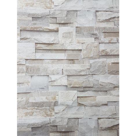 "main image of ""3D Slate Stone Brick Effect Wallpaper Grey Beige Realistic Textured Vintage"""