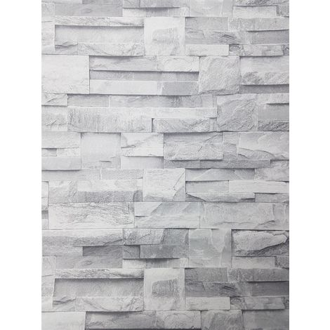 3D Slate Stone Brick Effect Wallpaper Grey Rock Realistic Textured Vintage