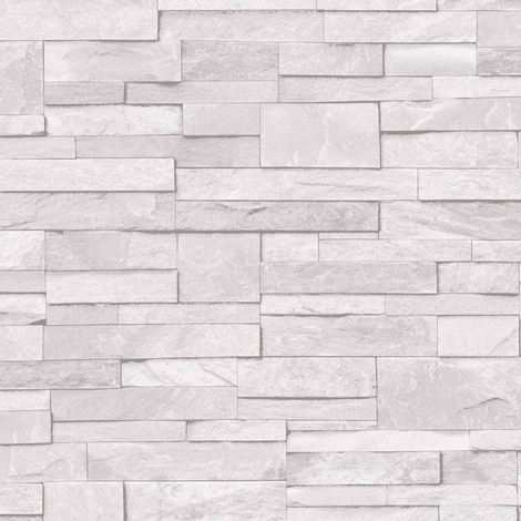 3D Slate Stone Brick Effect Wallpaper Washable Vinyl Light Grey White