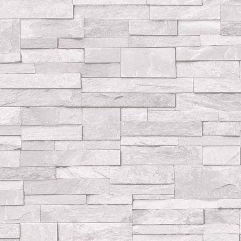 3D Slate Stone Brick Effect Wallpaper Washable Vinyl Light Grey White