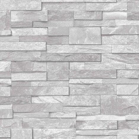 "main image of ""3D Slate Stone Brick Effect Wallpaper Washable Vinyl Natural Grey A17202"""