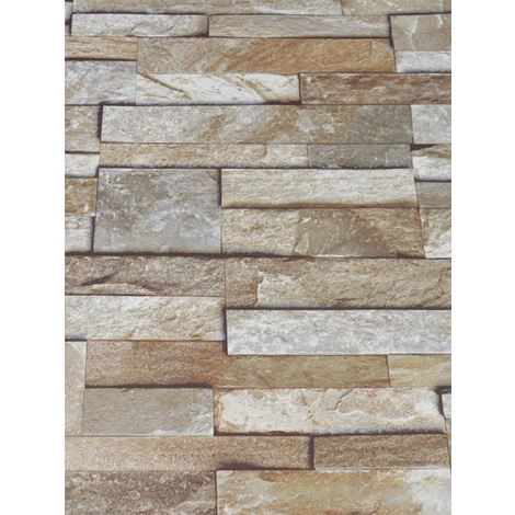 3D Slate Stone Brick Effect Wallpaper Washable Vinyl Natural Stone